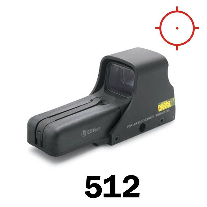 Red Dot Sights - Eotech Holographic Sight 512 - 1 MOA Dot & Ring Reticle - AA Batt - Std Mount