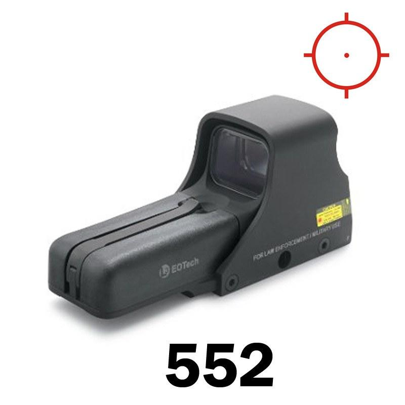 Red Dot Sights - Eotech Holographic Sight 552 - 1 MOA Dot & Ring Reticle - AA Batt - Std Mount - NV Compatible