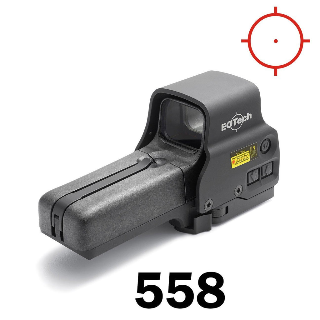 Red Dot Sights - Eotech Holographic Sight 558 - 1 MOA Dot & Ring Reticle - AA Batt - QD Riser Mount - NV Compatible