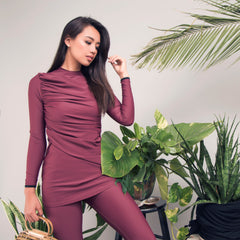 Lanuuk diana burgundy modest swimsuit burkini