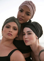 Load image into Gallery viewer, Self-tie Swim Turban Black