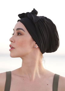 Self-tie Swim Turban Black