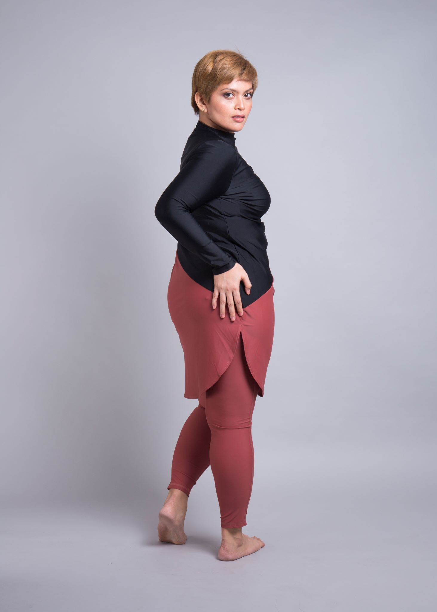 Lanuuk Maya Swimsuit Full Coverage Burkini Black/Marsala Plus size