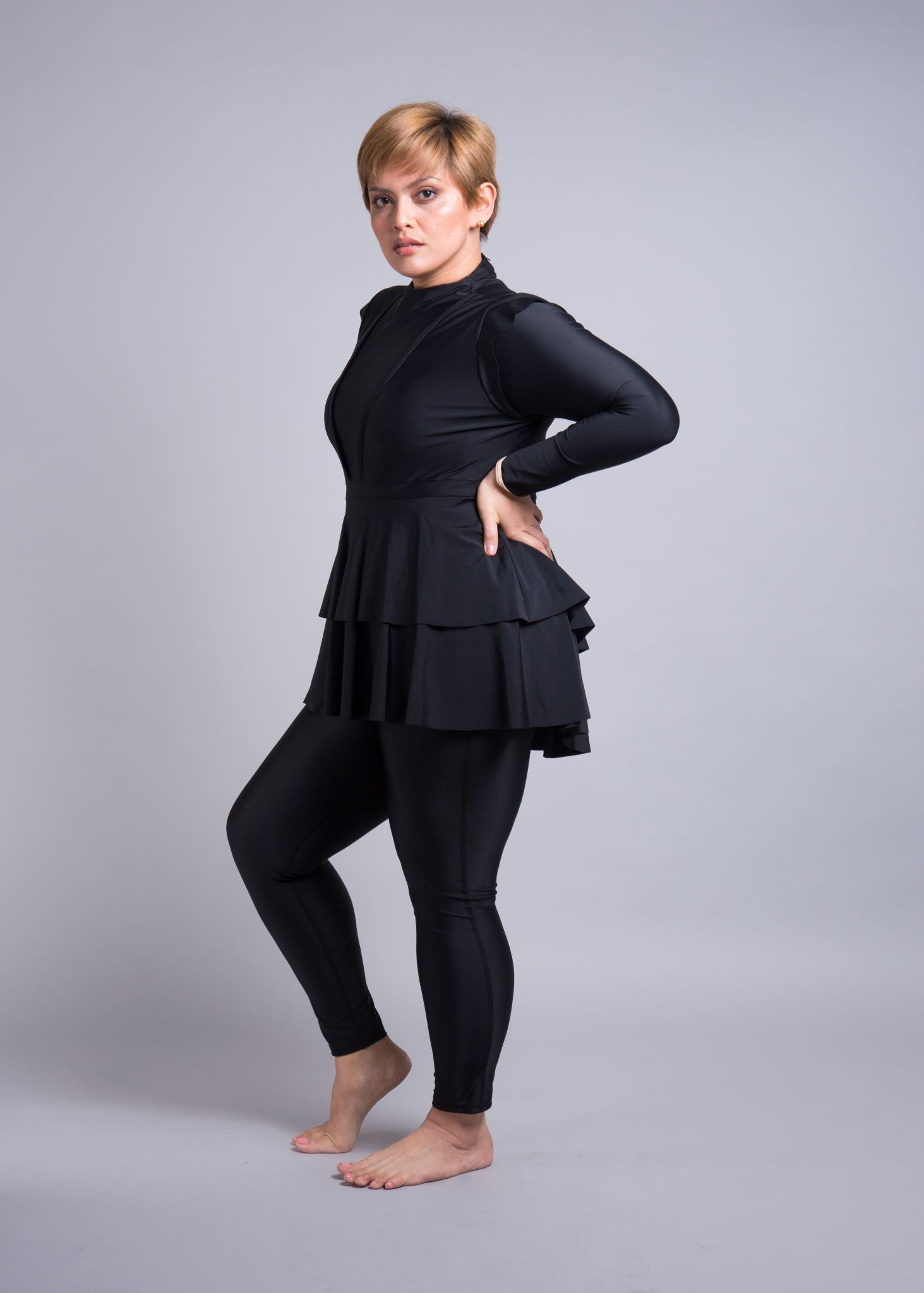Lanuuk Serena full coverage swimsuit black burkini