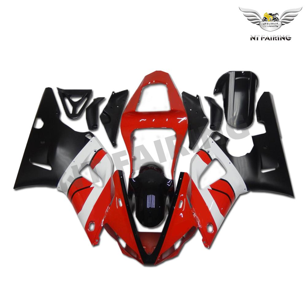 NT Aftermarket Injection ABS Plastic Fairing Fit for YZF R1 2000-2001 Red White Black N001 Available in TX