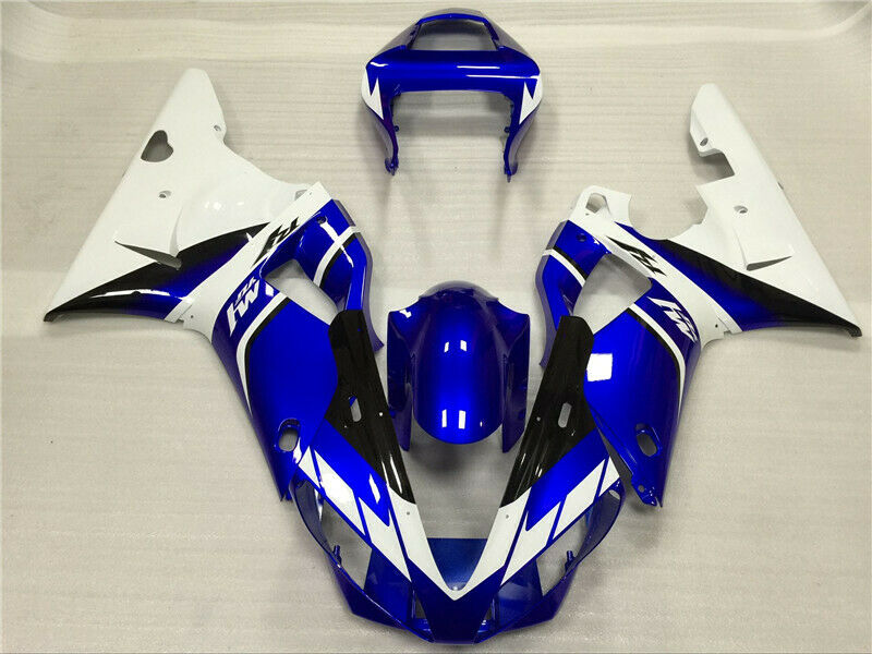 NT Aftermarket Injection ABS Plastic Fairing Fit for YZF R1 2000-2001 White Blue N015 Available in CA, KY