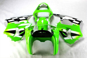 NT Aftermarket Injection ABS Plastic Fairing Fit for ZX6R 636 2000-2002 Green Black White N014 Available in IL