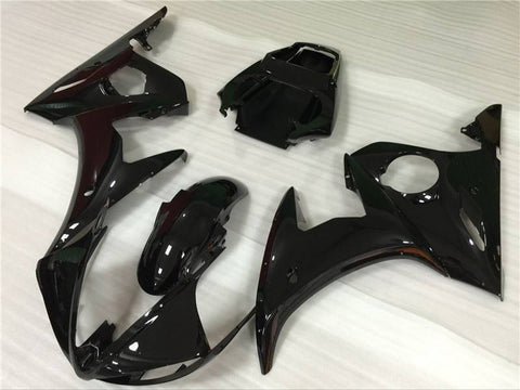 NT Aftermarket Injection ABS Plastic Fairing Fit for YZF R6 2003-2005 Glossy Black N048 Available in TX