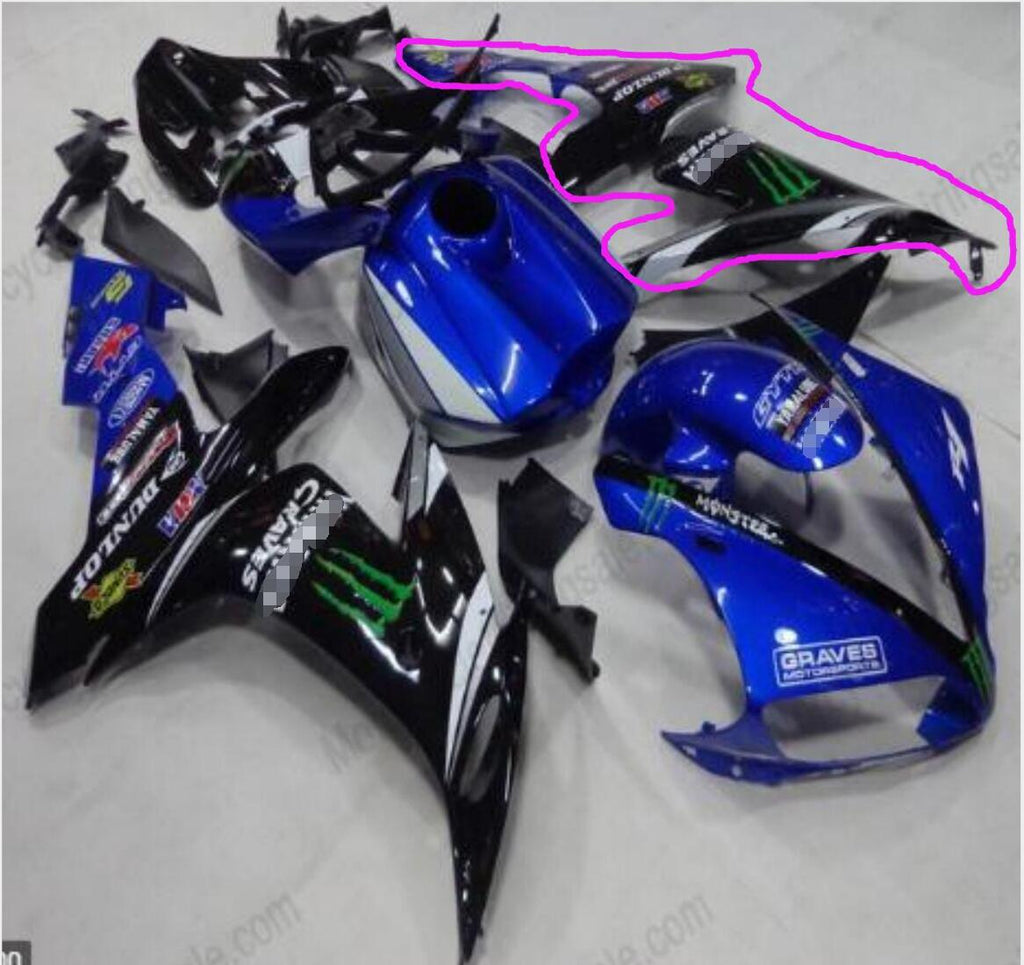 NT Aftermarket Injection ABS Plastic Left Side Fairing Fit for YZF R1 2004-2006 Black Blue
