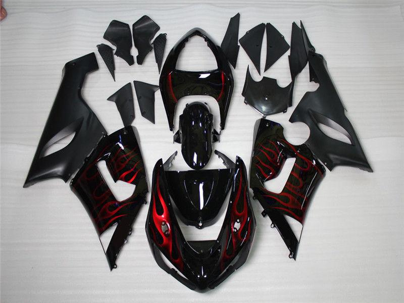 NT Aftermarket Injection ABS Plastic Fairing Fit for ZX6R 636 2005-2006 Black Red Flame N022 Available in CA, KY