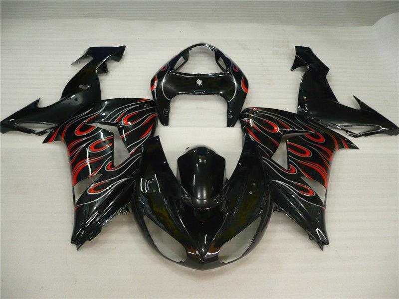 NT Aftermarket Injection ABS Plastic Fairing Fit for ZX10R 2006-2007 Black Gray Red N006