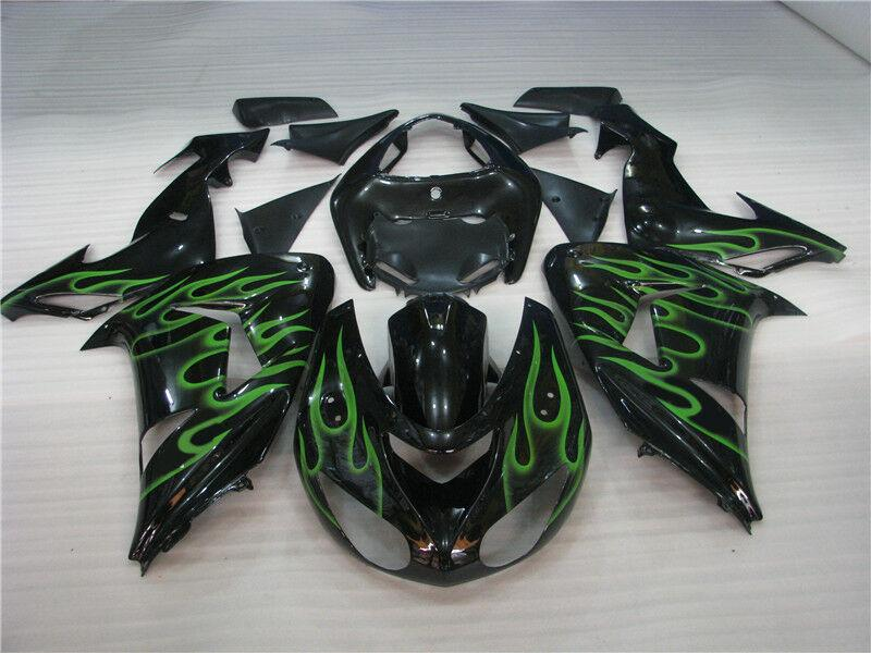 NT Aftermarket Injection ABS Plastic Fairing Fit for ZX10R 2006-2007 Black Green Flame N009 Available in KY