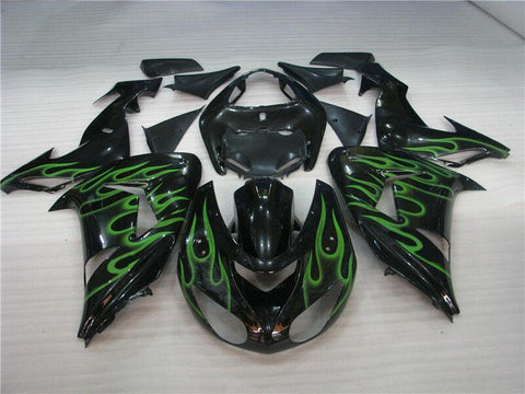 NT Aftermarket Injection ABS Plastic Fairing Fit for ZX10R 2006-2007 Black Green Flame N009 Available in TX