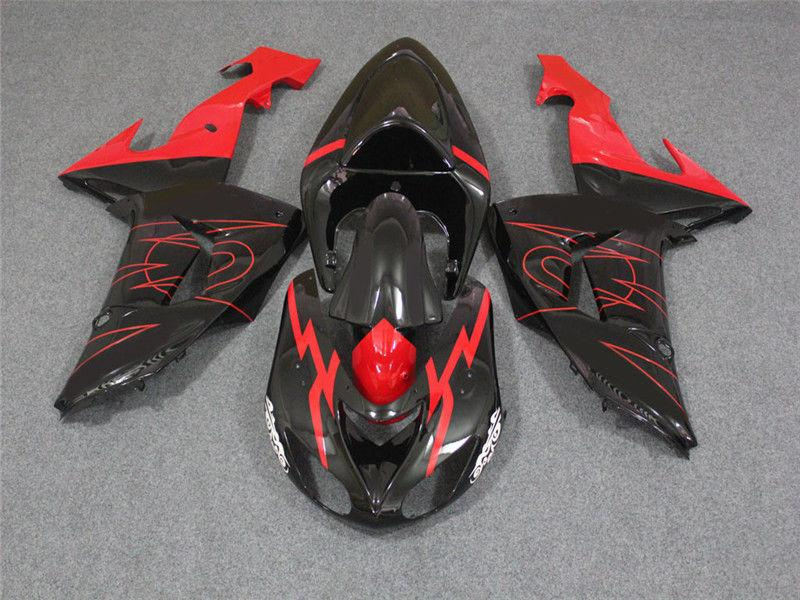NT Aftermarket Injection ABS Plastic Fairing Fit for ZX10R 2006-2007 Black Red N013 Available in CA, TX, KY