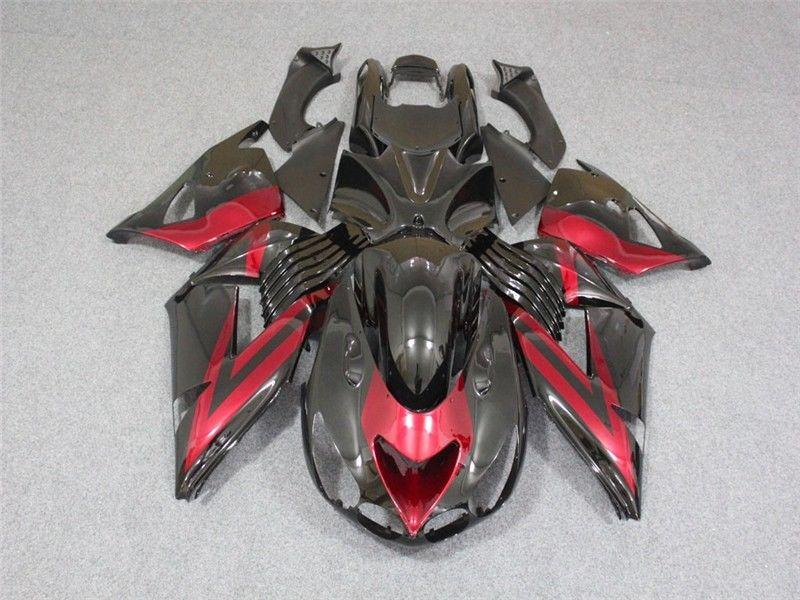 NT Aftermarket Injection ABS Plastic Fairing Fit for ZX14R 2006-2011 Black Red N005 Available in CA