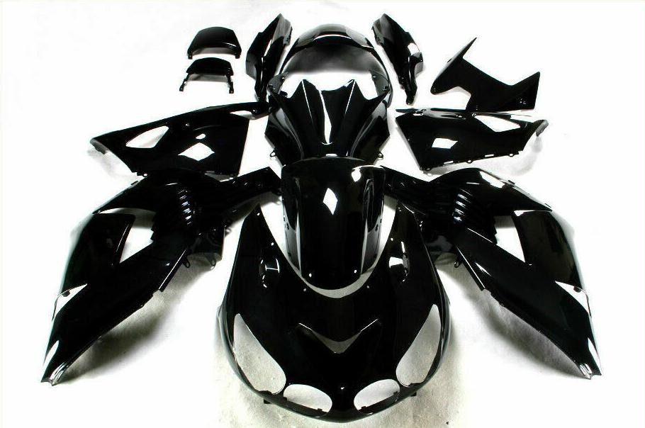 NT Aftermarket Injection ABS Plastic Fairing Fit for ZX14R 2006-2011 Glossy Black N008 Available in TX, IL