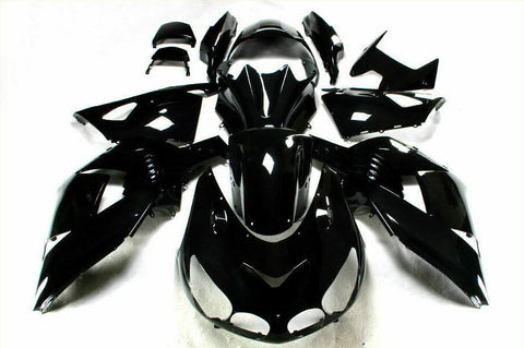 NT Aftermarket Injection ABS Plastic Fairing Fit for ZX14R 2006-2011 Glossy Black N008