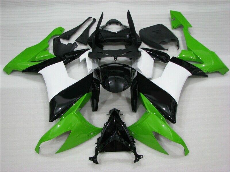 NT Aftermarket Injection ABS Plastic Fairing Fit for ZX10R 2008-2010 Green Black White N002 Available in CA, TX