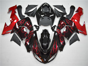 MSA Fit for Kawasaki Ninja 2006-2007 ZX10R Red Flame Injection Fairing ABS a008