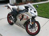 NT Silver Red Flames Fairing Fit for 2005 2006 ZX6R 636 ABS Bodywork Kit e024A
