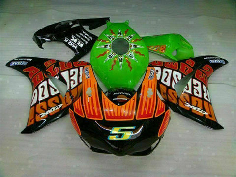MS Injection New Green Orange Fairing Fit for Honda 2008-2011 CBR1000RR u027