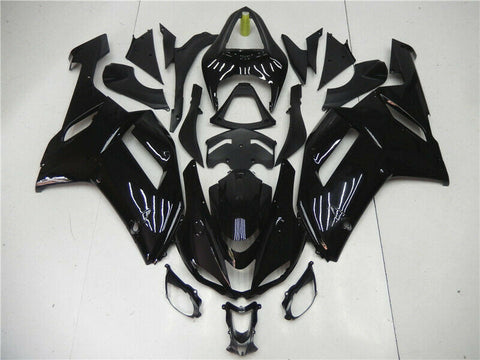 Fit for Kawasaki 2007 2008 ZX6R Plastic Glossy Black Injection Fairing Set n0q-B