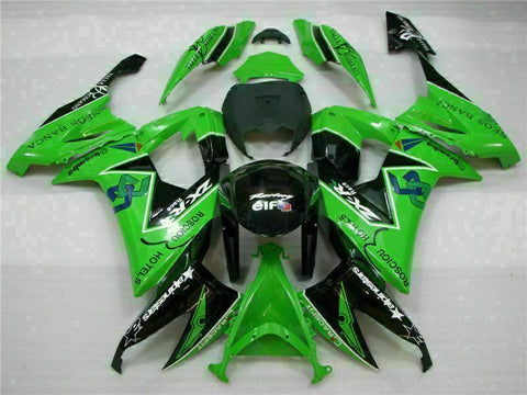 MSA Fit for Kawasaki 2008-2010 ZX10R ZX-10R ABS Green Black Injection Fairing t014-T