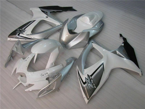 MSB Injection White Silver Fairing Fit for Suzuki 2006 2007 GSXR 600 750 v085