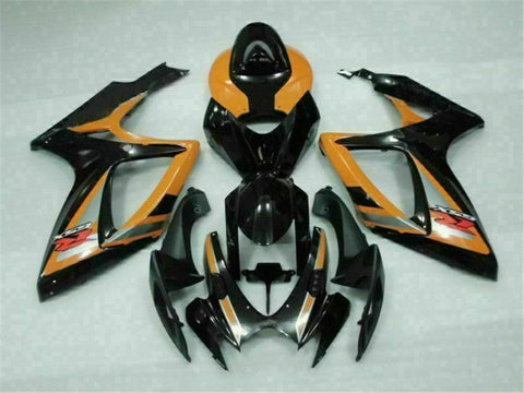 MSB Injection Black Orange Fairing Fit for Suzuki 2006 2007 GSXR 600 750 o067