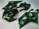 MS Injection Plastic Green Black Fairing Fit for Suzuki 2003-2004 GSXR 1000 q047