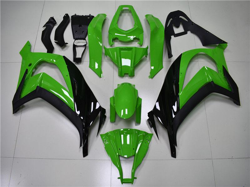 NT Aftermarket Injection ABS Plastic Fairing Fit for ZX10R 2011-2015 Black Green N003 Available in CA