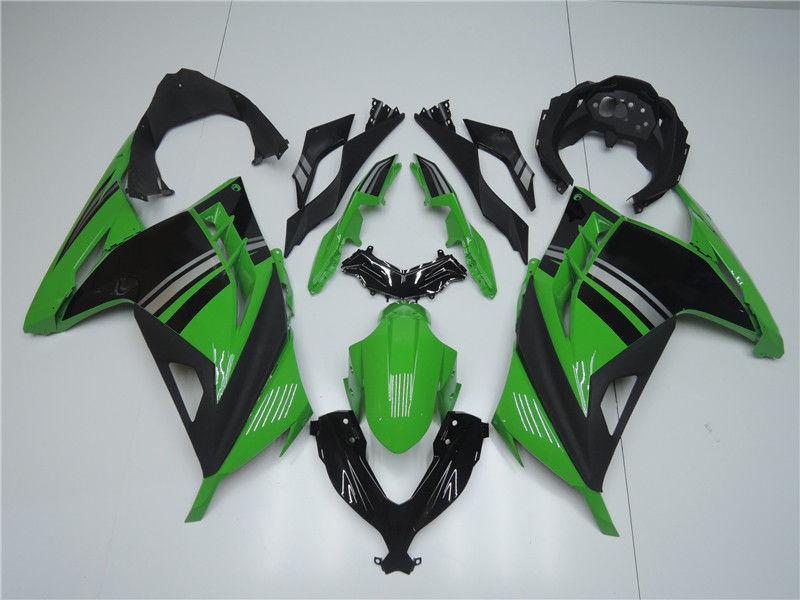 NT Aftermarket Injection ABS Plastic Fairing Fit for EX300 2013-2016 Black Green N004 Available in CA, TX