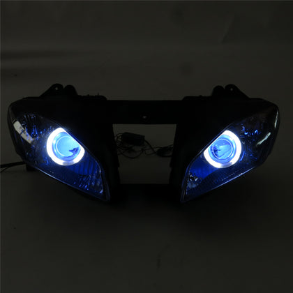 Front Motorcycle Headlight Blue Angel Eye Fit Yamaha 2008-2016 YZF R6