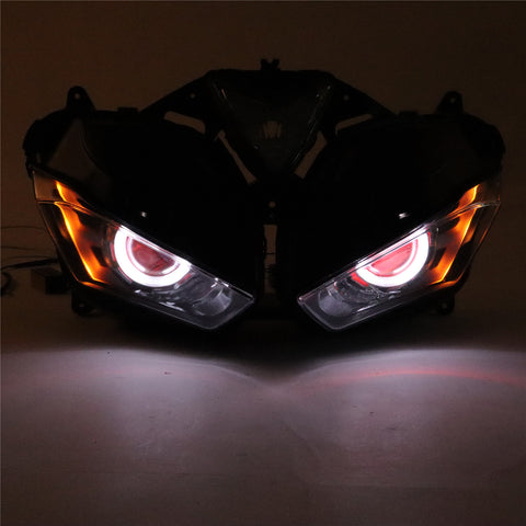 Front Motorcycle Headlight Red Angel Eye Fit Yamaha 2014-2018 YZF R25 R3 Available in CA
