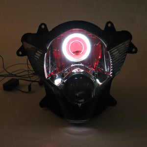Front Motorcycle Headlight Red Angel Eye Fit Suzuki 2006-2007 GSXR600/750 K6 Available in TX