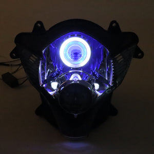 Front Motorcycle Headlight Blue Angel Eye Fit Suzuki 2006-2007 GSXR600/750 K6 Available in TX