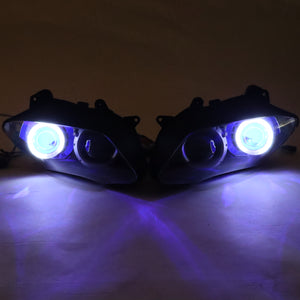 Front Motorcycle Headlight Blue Angel Eye Fit Yamaha 2007-2008 YZF R1 Available in IL