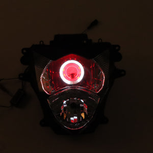 Front Motorcycle Headlight Red Angel Eye Fit Suzuki 2011-2020 GSXR 600 750 K11 Available in IL