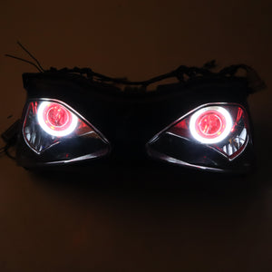 Front Motorcycle Headlight Headlamp Red Angel/Demon Eye Fit Kawasaki 2003-2004 ZX6R ZX636  Available in IL