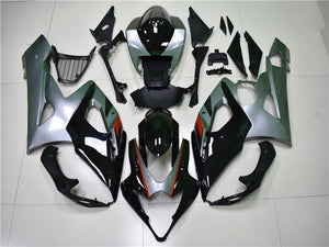 NT Aftermarket Injection ABS Plastic Fairing Fit for GSXR 1000 2005-2006 Black Silver N003 Available in TX