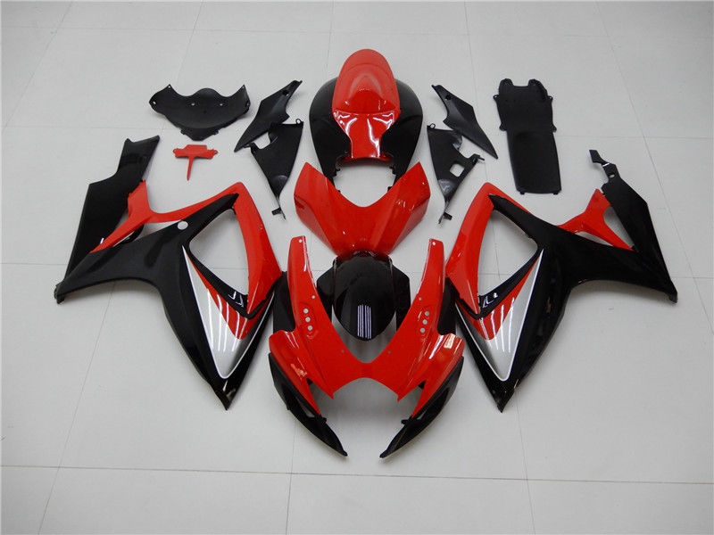 NT Aftermarket Injection ABS Plastic Fairing Fit for GSXR 600/750 2006-2007 Red Black N003 Available in CA, TX, IL