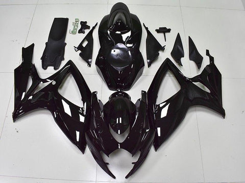 NT Aftermarket Injection ABS Plastic Fairing Fit for GSXR 600/750 2006-2007 Glossy Black N008 Available in TX