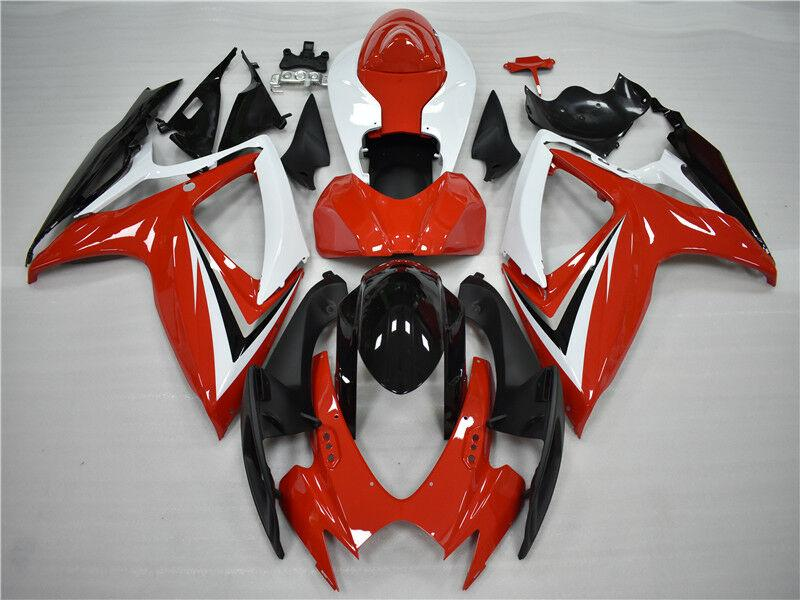 NT Aftermarket Injection ABS Plastic Fairing Fit for GSXR 600/750 2006-2007 Red Black White N023 Available in CA