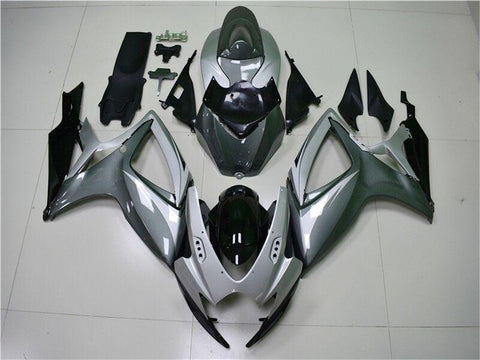 NT Aftermarket Injection ABS Plastic Fairing Fit for GSXR 600/750 2006-2007 Silver Gray N042