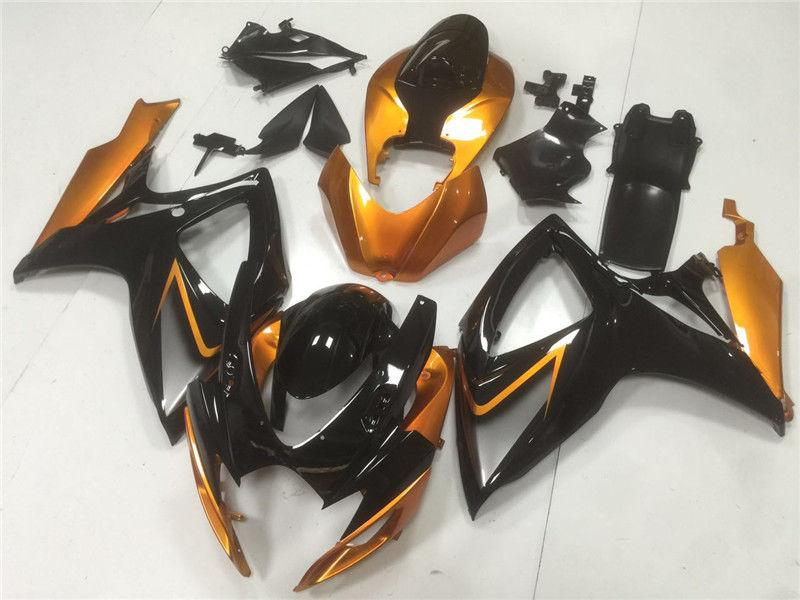 NT Aftermarket Injection ABS Plastic Fairing Fit for GSXR 600/750 2006-2007 Black Orange N105 Available in CA, TX, IL