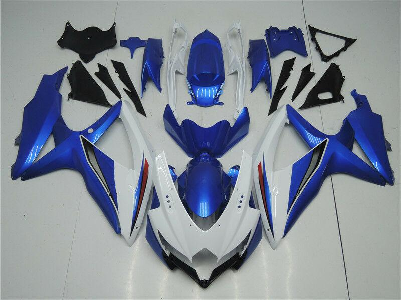 NT Aftermarket Injection ABS Plastic Fairing Fit for GSXR 600/750 2008-2010 White Blue N004 Available in CA, KY
