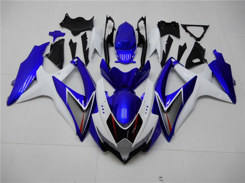 NT Aftermarket Injection ABS Plastic Fairing Fit for GSXR 600/750 2008-2010 White Blue N007 Available in CA, KY