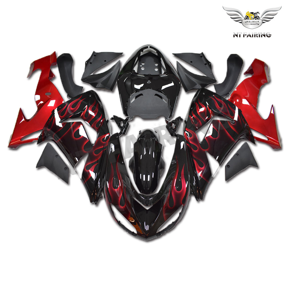 NT Aftermarket Injection ABS Plastic Fairing Fit for ZX10R 2006-2007 Black Red Flame N008 Available in TX, KY