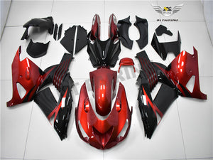 NT Aftermarket Injection ABS Plastic Fairing Fit for ZX14R 2006-2011 Red Black N001