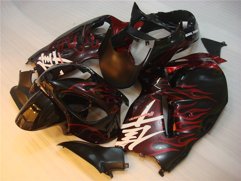 NT Aftermarket Injection ABS Plastic Fairing Fit for GSXR 1300 Hayabusa 1997-2007 Black Red Flame N015